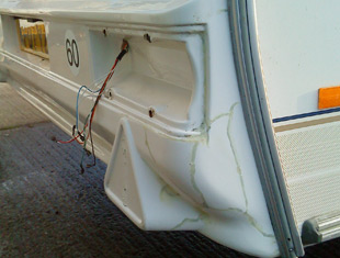 Caravan Rear repairs from SH Caravans